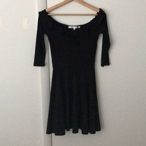 Fit and flair off the shoulder little black dress